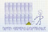 Data mining software and business intelligence — Stock Photo