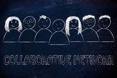 Group of collaborative network illustration — Stock fotografie