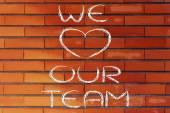 Noi cuore nostro team scrivendo illustrazione — Foto Stock