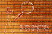 Man inspecting binary code — Stock Photo