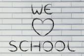 Nos encanta escribir escuela — Foto de Stock