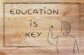 Teacher writing on blakboard: education is key — Φωτογραφία Αρχείου