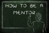 Teacher writing on blakboard: how to be a mentor — Photo