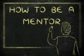 Teacher writing on blakboard: how to be a mentor — Stockfoto