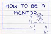 Teacher writing on blakboard: how to be a mentor — Stock Photo