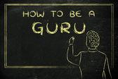 Teacher writing on blakboard: how to be a guru — Stockfoto