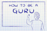 Teacher writing on blakboard: how to be a guru — Stock Photo