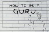 Teacher writing on blakboard: how to be a guru — Φωτογραφία Αρχείου