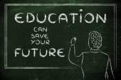 Teacher writing on blakboard about education — Stock Photo