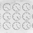 Series of clocks showing time passing by — Stock Photo #76819193