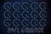 Series of clocks showing time passing by — Stock Photo