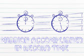 Concept of achieving a mission in record time — Stockfoto