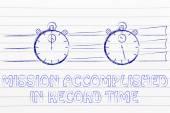 Concept of achieving a mission in record time — Fotografia Stock