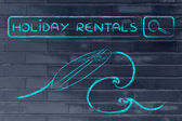 Online search for holiday rentals — Stock Photo