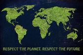 Carte du monde avec de l'herbe verte — Photo