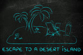 Concept of Escape to a desert island — Stock Photo