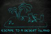 Concetto di fuga su un'isola deserta — Foto Stock