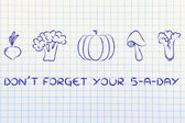 Don't forget your five a day, vegetables illustration — Stock Photo