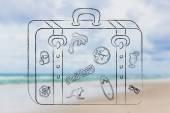 Bagage met zomervakantie geïnspireerd stickers — Stockfoto
