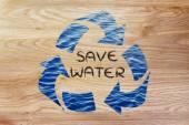 Opslaan van water word in recycle symbool — Stockfoto