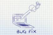 Oversized wrench fixing bugs on a computer — Stock Photo