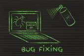 Funny spray fixing computer bugs — Stock Photo
