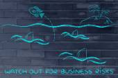 Watch out for business risks illustration — Stock Photo