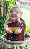 Clay Monk Happy Statues, Thai style — Stock Photo