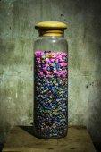 Still life Paper Stars in glassware — Stock Photo