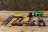 Still Life Assorted work tools on wood — Foto de Stock
