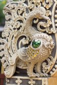 White Swan statue on the wall in Thai temples — Stockfoto