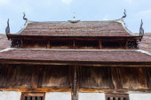 Old wood chapel lanna style in thai temple — Stock Photo