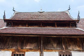 Old wood chapel lanna style in thai temple — Стоковое фото