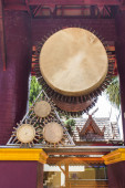 Double headed leather drum in temple — Stock Photo
