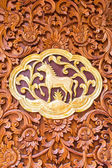 Horse wood Carving Wall sculptures in thai temple — Stock Photo