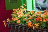 Hängande konstgjorda blommor krukor — Stockfoto