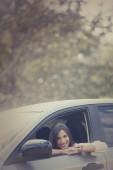 Car driver woman — Stock Photo