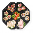 Top view of buffet box catering with canape — Stock Photo #73136663