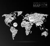 Världen karta bakgrund i polygon — Stockvektor