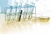The lab or laboratory test tubes with colorful liquid — Foto de Stock
