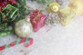 Christmas composition with snow and Christmas decoration  — Stock Photo