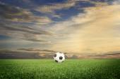 Soccer field with sun set — Stock Photo