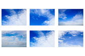 Set of Fantastic soft white clouds against blue sky — Stockfoto