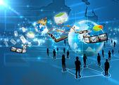 Zakelijke team met sociale media — Stockfoto