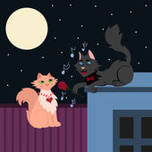 Night serenade, two loving cats, cat in love sings the serenade — Cтоковый вектор