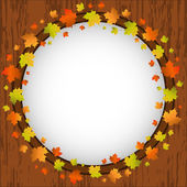 Autumn design frame, wreath of colorful maple leaves, window and autumn leaves over aged wooden background — Stock Vector