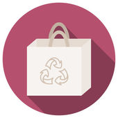 Trendy round eco recycle bag icon with long shadow — ストックベクタ