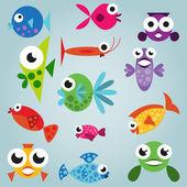 卡通海水鱼套 — 图库矢量图片