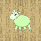 Green cartoon sheep on wood background — Stock Vector