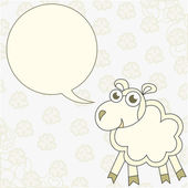 Cartoon sheep congratulates — Stok Vektör